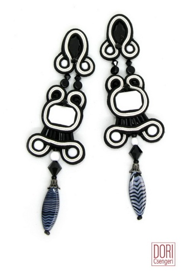 Fantastic black and white earrings from Dori Csengeri