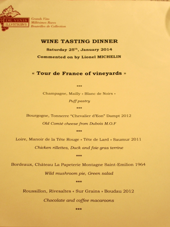 wine tasting dinner - menu