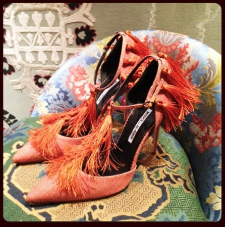 Manolo Blahnik fringe shoes ss2014