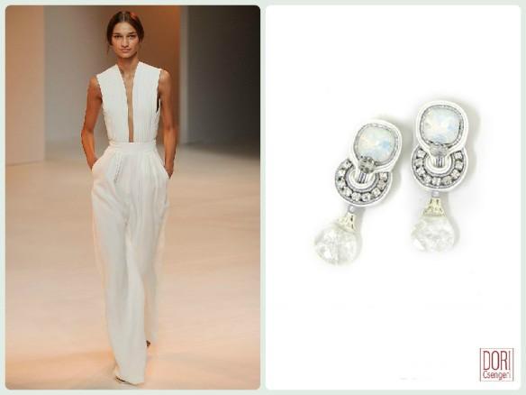 Glamradar sleek bridal jumpsuit paired with Dori's Dream earrings.