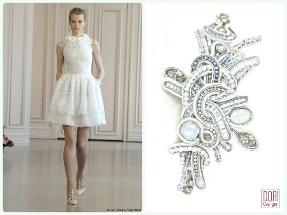 Oscar de la Renta mini bridal dress paired with Dori's Dream hair accessory.