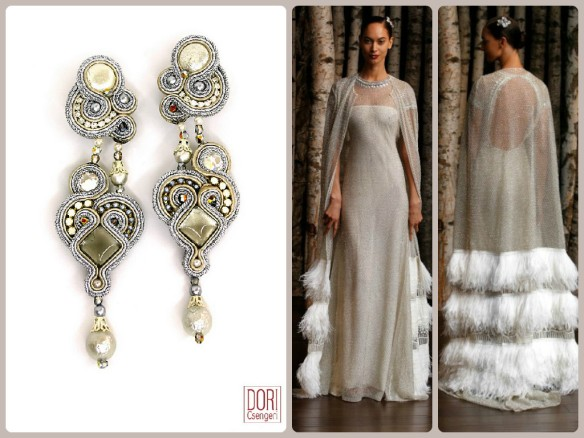 Naeem Khan's cape wedding gown paired with our Gothika earrings.