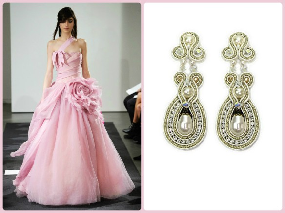 Vera Wang pink wedding gown paired with Dori's pearly Noces earrings