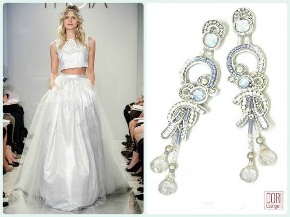 We matched Theia cropped top wedding dress with our statement Dream earrings.