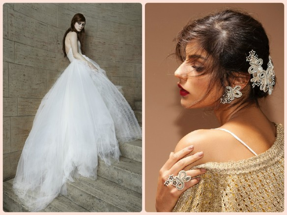 We matched Vera Wang tulle wedding dress with our Stardust bridal jewelry.
